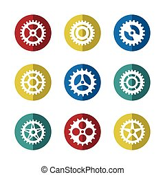 Gears icon set on colorful circles