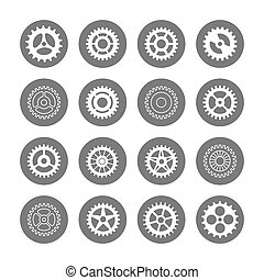 Gears icon set in circles