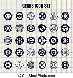 Gears icon set on notebook page