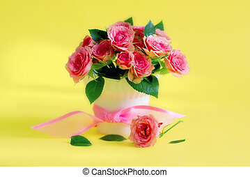 roses - beautiful shot with bunch of roses on yellow...