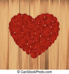 Rose petals heart-shape on wood. Valentine's day background....