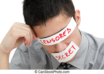 Censorship - Young businessman with a band on his eyes and...