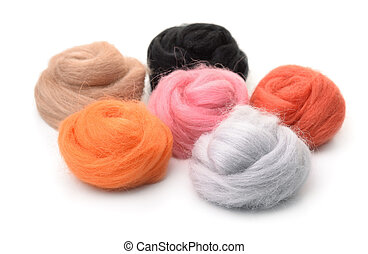Group of color needle felting wool isolated on white