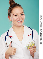 Pharmacist with pills medication. - Ways of treatment....