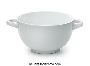White empty ceramic soup bowl with handles