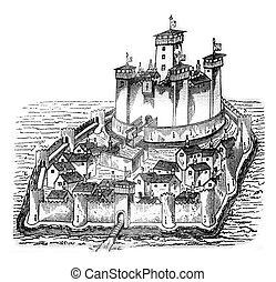 Chateau de la Pauleuze in Bourbonnais, after a manuscript of...