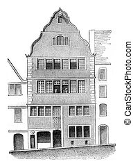House or is not Beethoven, Bonn, vintage engraving. - House...