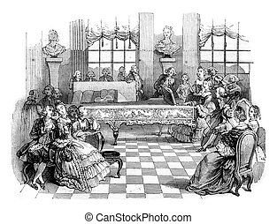 A concert in the eighteenth century, vintage engraving. - A...