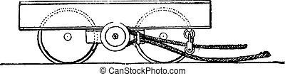 Horizontal screw brake, vintage engraving.