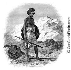 A warrior of the tribe of Zababdeh, vintage engraving. - A...