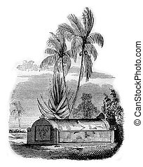 Malay tomb at Timor, vintage engraving. - Malay tomb at...