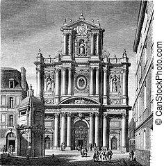 Church of Saint Louis, now Saint Paul, street Saint Antoine, Paris, vintage engraving.