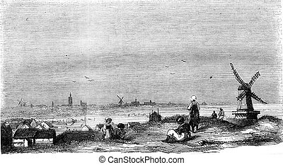 Distant View of The Hague, vintage engraving. - Distant View...