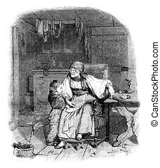 The reading lesson, vintage engraving. - The reading lesson,...