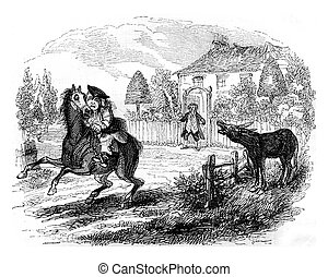 The horse neighs, leaps, and resumed its infernal gallop,...