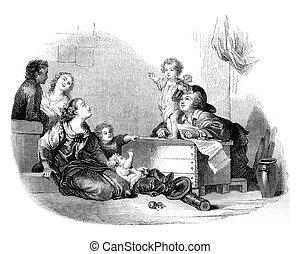 The Little Speaker, vintage engraving. - The Little Speaker,...