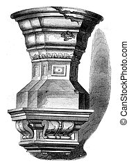 Baptismal font of Saint Louis, Poissy, vintage engraving. -...