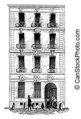 House Law, street Quincampoix, Paris, vintage engraving.