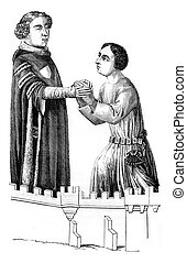 Louis ii bourbon receiving homage to one of his vassals,...
