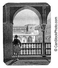 Inside view of the Casbah in Algiers, vintage engraving. -...