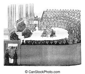 The Council of Trent, vintage engraving. - The Council of...