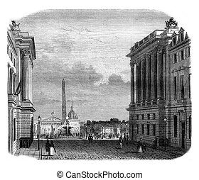 View of the Place de la Concorde, vintage engraving. - View...