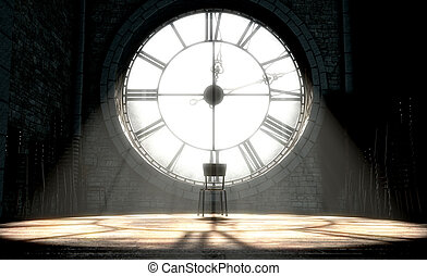 Antique Backlit Clock And Empty Chair - A 3D render of the...