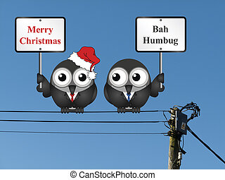 The two side of Christmas illustration - Comical the two...