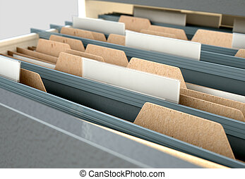Filing Cabinet Drawer Open Generic - A 3D render closeup...