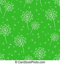 Green seamless pattern with stylized dandelions - Beautiful...