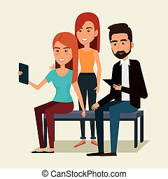 People using smartphone characters