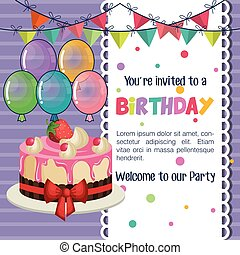 happy birthday invitation with balloons air and sweet cake
