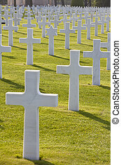 Rows of white crosses and a Star of David at the World War 2...