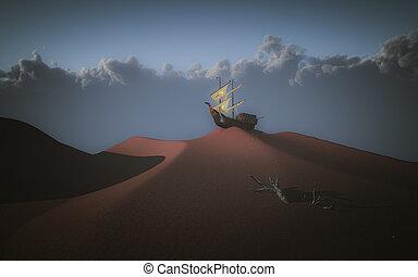 Ship in desert