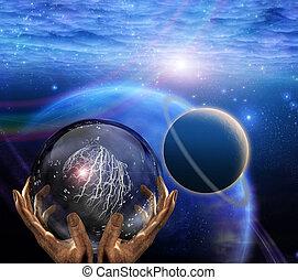 Prophet - Surreal painting. Crystal ball in prophet hands....