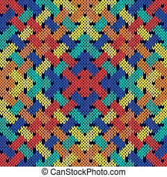 Intertwining seamless knitted pattern in vivid colors -...