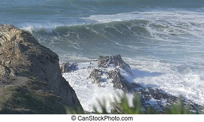 4x Real Slow Motion - Huge Waves At Portuguese Coasts -...