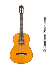 Natural Classical Acoustic Guitar Isolated on a White Background
