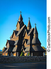 Heddal Stave church in Norway - Beautiful structure of...