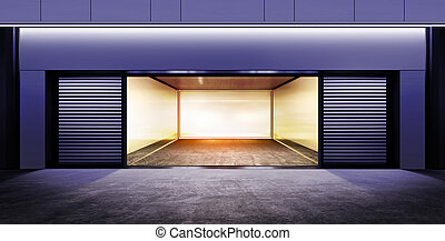 modern empty garage at night - modern empty garage on street...
