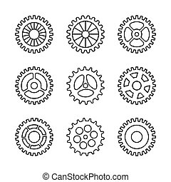Thin line gears icon set isolated on white backround. Vector...