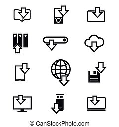 Different devices downloading line icons - Different devices...