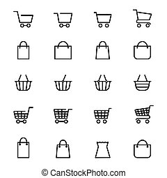 Shopping baskets line icons - Shopping baskets and store...