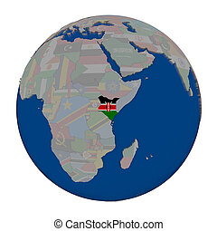 Kenya on political globe
