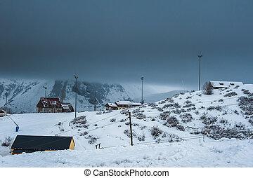 Winter snowy mountains. Caucasus Mountains, Georgia,...