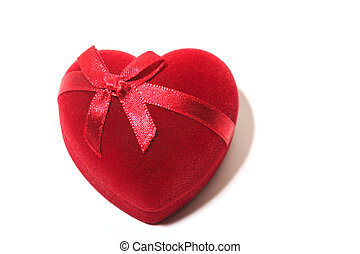Gift red heart with  bow tie