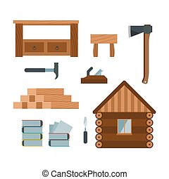 Lumberjack woodworking tools icons vector illustration -...