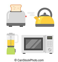 Microwave oven and other tools vector illustration. -...