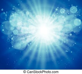 Blue sky and sun. Realistic Blur Design With Burst Rays. Abstract Shining Background.