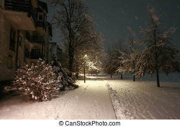 Snowy street at night - A street covered in snow during...